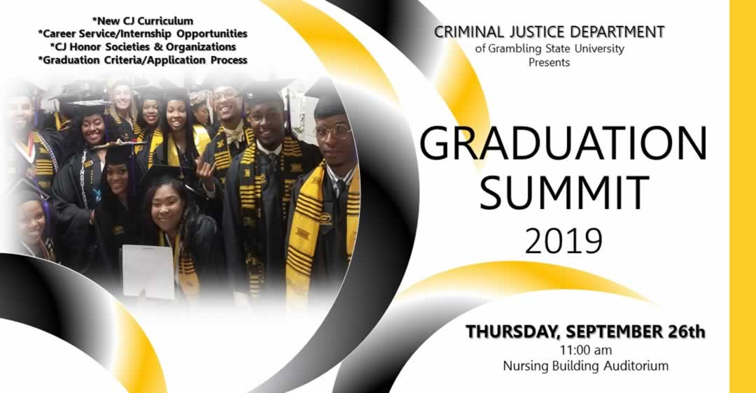 Criminal Justice Department Graduation Summit 2019 Flyer