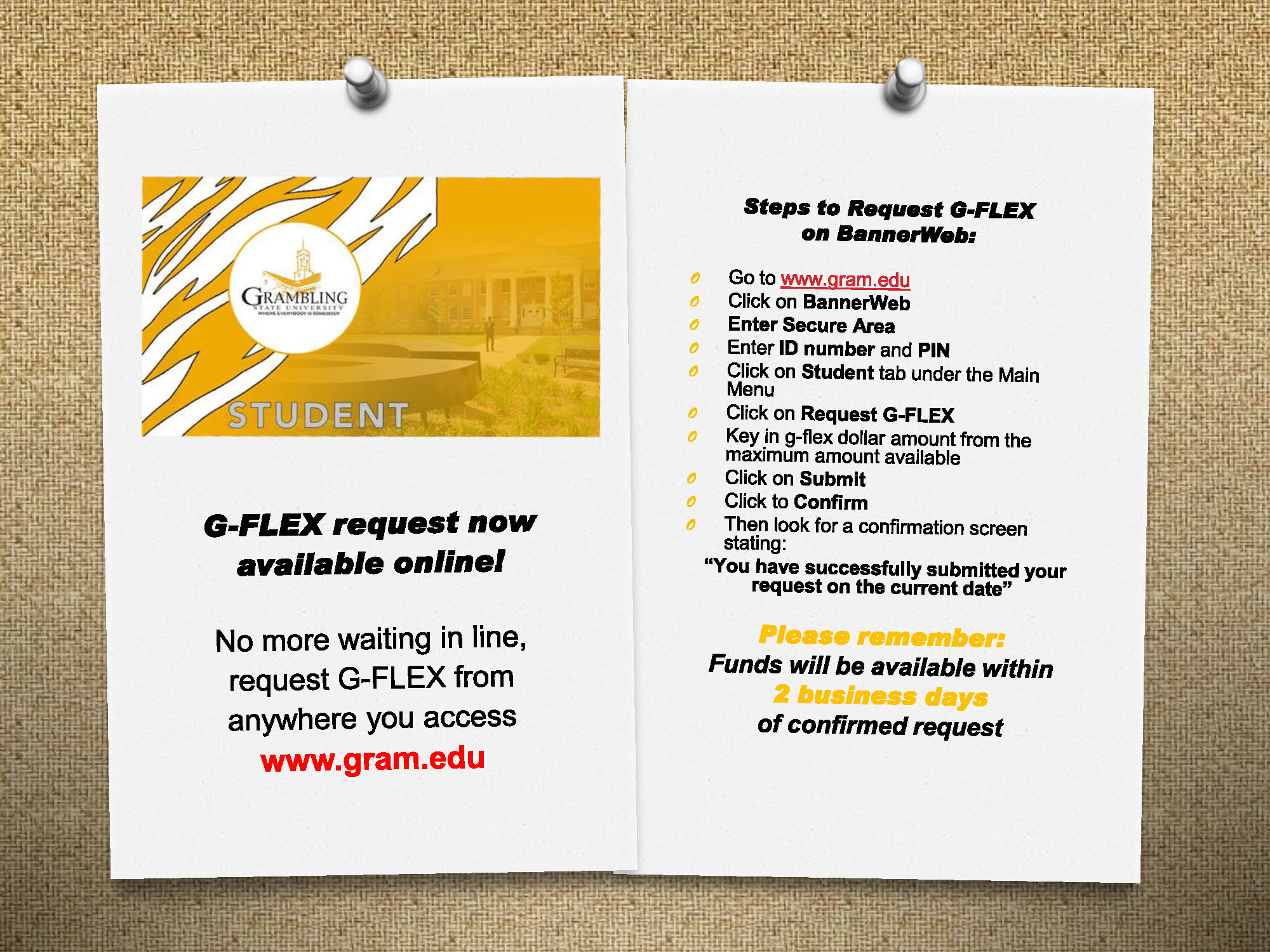 Steps to request GFlex/Tiger1 card flyer